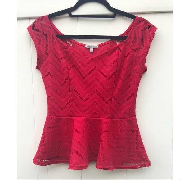 Charlotte Russe Tops - Red Crochet Peplum Top